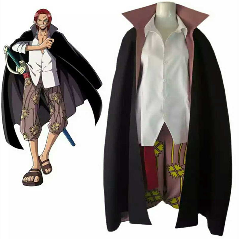 Anime One Piece Red Haired Shanks Cosplay Costume Top + Pants + Trench + Cloak Halloween Party Uniform