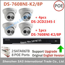Sistema de Vigilancia Hikvision NVR DS-7608NI-K2/8 P 2 SATA, 8 puertos POE 8ch Reproducir H.265 + 4 unids DS-2CD2345-I MP Hikvision Cámara IP