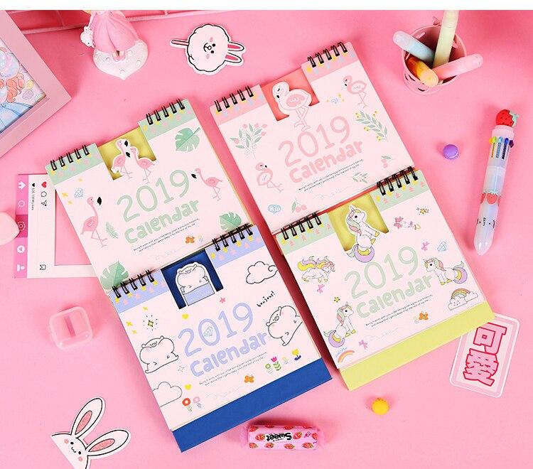 2019 New Kawaii Cute Flamingo Unicorn Calendar 15*16cm Schedule Planner Creative Desk Table Dates Reminder Timetable Plan Sl1192 Calendars, Planners & Cards
