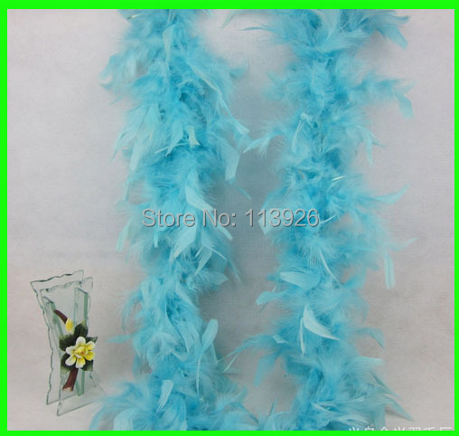 5pcs/lot Light blue turkey feather boa (2m long ) for hats, headdress, girls feather dresses, children dress up, and home decor