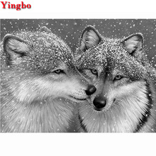 Black and white wolf couple Diamond Painting Full Square/round Mosaic Rhinestones of Pictures 5d diy Embroidery animal