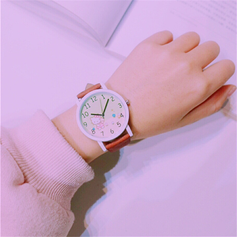 Hot Sales Popular Kids Watches Lovely Hello Kitty Dial Wristwatches Fashion Cute Children's Casual Leather Watch Dress Clock hot sales lovely hello kitty watches children girls women fashion crystal dress quartz wristwatches