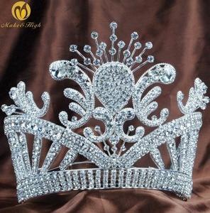 Diadema grande con flores para mujer, corona de Reina austriaca con diamantes de imitación de cristal, accesorios para el cabello de boda hechos a mano