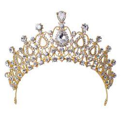 KMVEXO Elegant Crystal Bride Hair Accessories Wedding Tiaras and Crown Rhinestone Pageant Crowns Head Jewelry Hair Ornament