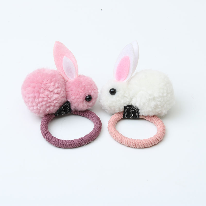 Fashion Cute Ball Rabbit Hair Ring Female Tie Rope Korean Elastic Rubber Hair Bands Bunny Hair Rope Children's Hair Accessories