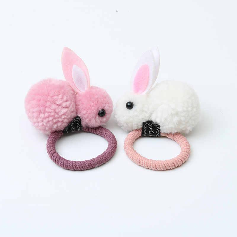 ファッションかわいいボールのウサギの毛リング女性ネクタイロープ韓国弾性ゴムヘアバンドバニーヘアアクセサリーロープ子供のヘアアクセサリー