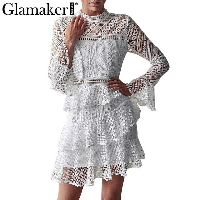 a043d65d85b0 Glamaker Black lace hollow out cascading ruffle mini dress Women long sleeve  sexy elegant dress Autumn