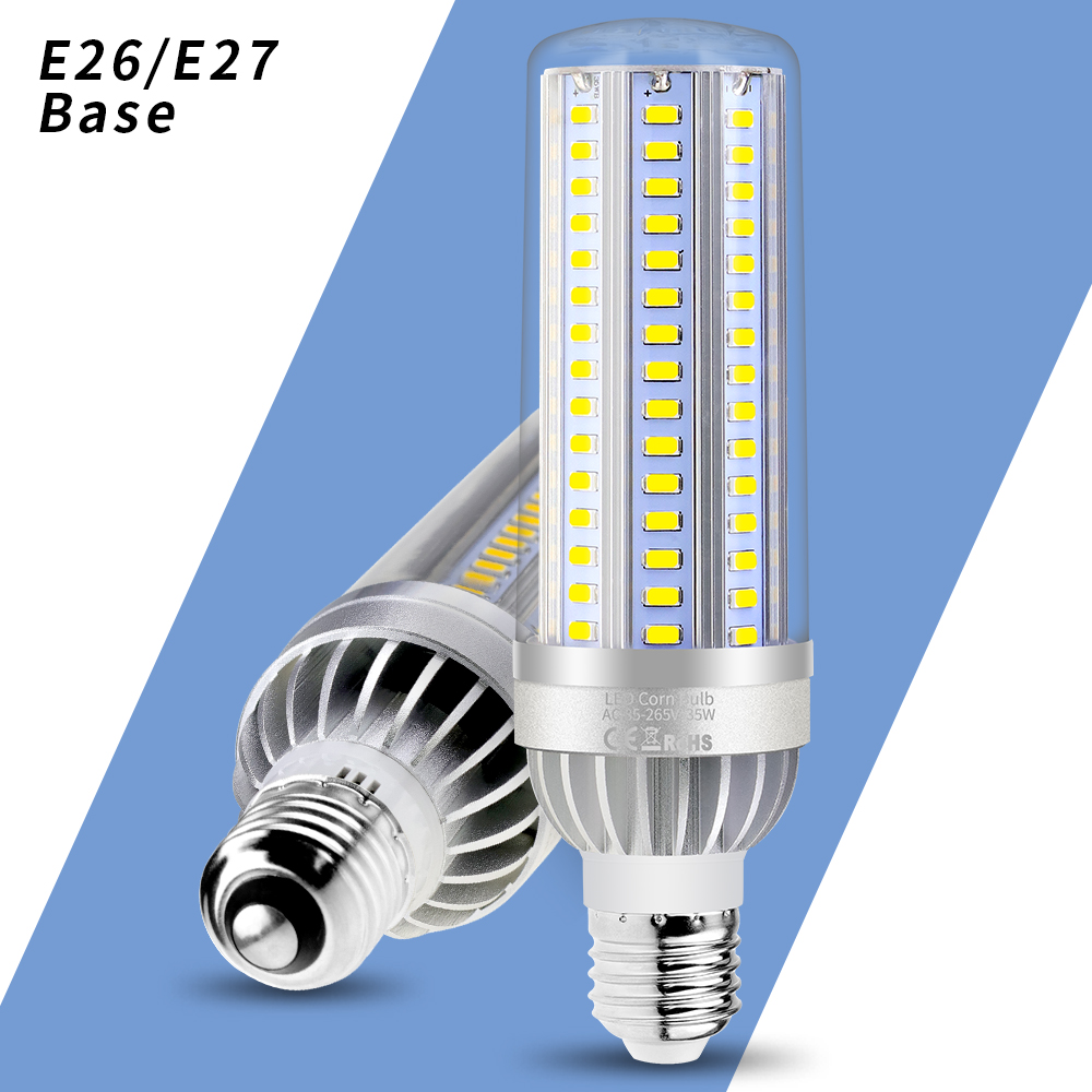 LED Bulb E27 High Power LED 25W 35W 50W Corn Lamp E26 220V bombillas led Light Bulb 110V 5730 Aluminum Fan Cooling No Flicker