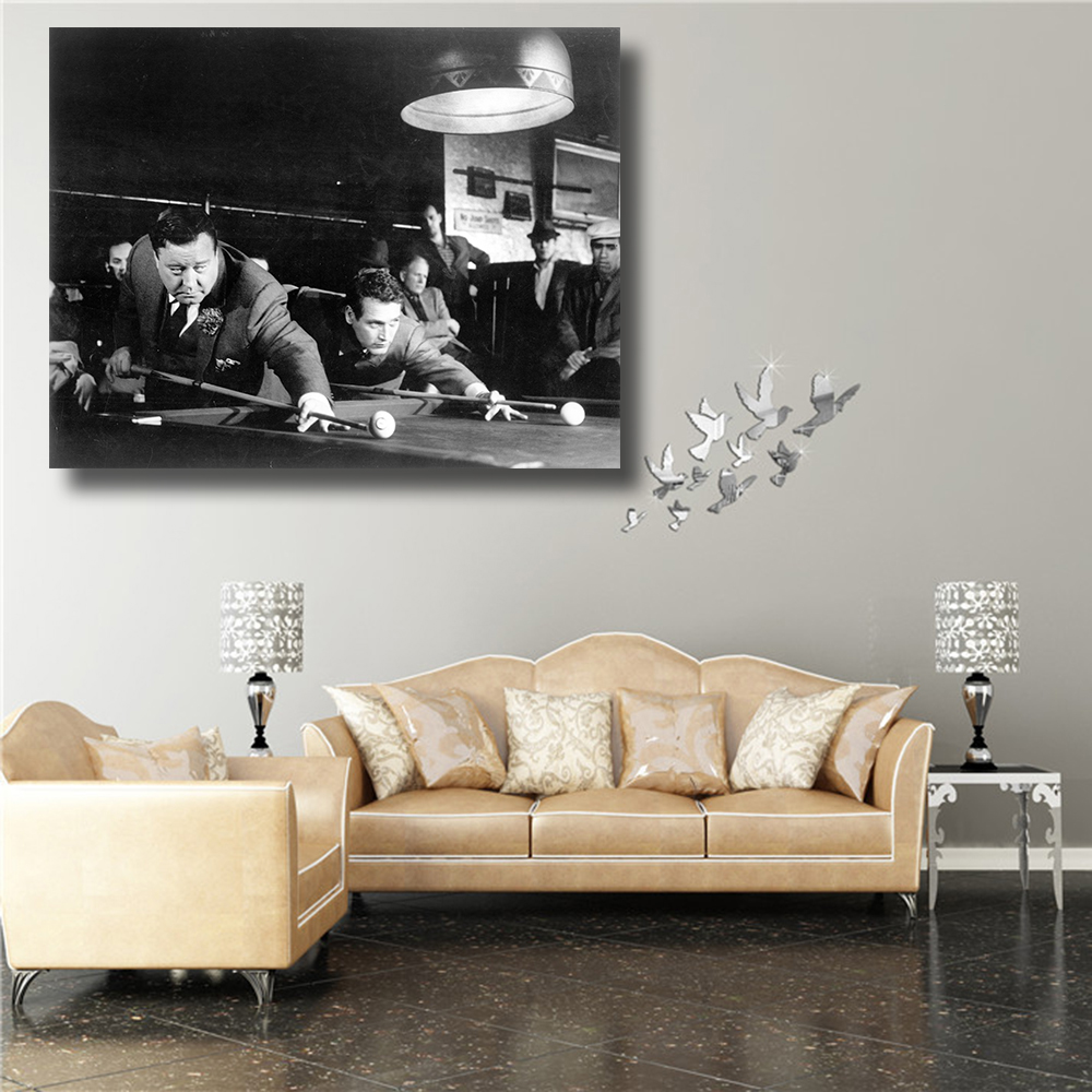 QKART Posters Wall Decor Frameless Play Billiards Oil Painting ...