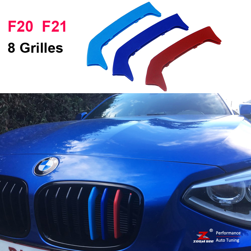 3D Front Grille Trim Strips grill Cover Stickers For 2012-2014 BMW 1 series F20 F21 M Sport 116i 118i 125i M135i (8 Grills) 3 series carbon front bumper racing grill grills for bmw f30 f31 standard sport 12 16 320i 325i 330i 340i non m3 style car cover