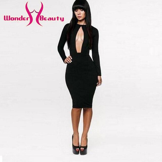 c78a5948232 Wonder beauty ouvert devant à manches longues moulante robe découpée robe mi -longue mode femmes
