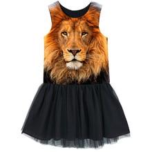 Adolescente Ragazze del vestito Animal Print Lions Abito senza maniche Costumi Per I Bambini Casual Confortevole Vestiti del vestito