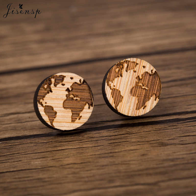 Jisensp New Arrival Vintage Map Wooden Earrings Simple Fashion Earth Wooden Earring for Women Party Gift pendientes mujer