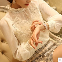 2014 Women Office Lady Fashion Elegant White Lace Blouse Embroidered Long Sleeve Chiffon Blouse Tops Shirt