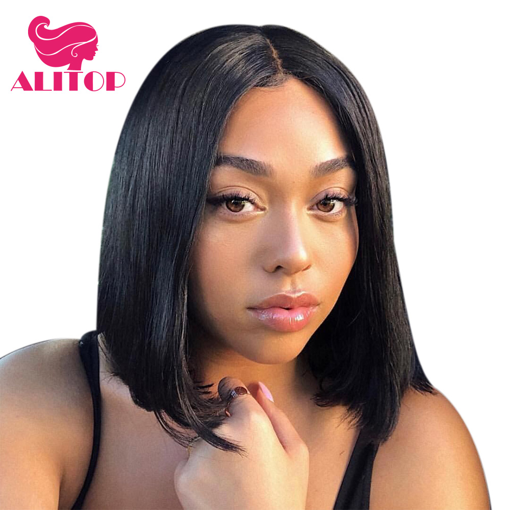 ALITOP Short Lace Front Human Hair Bob Wigs 13x4 Lace Front Wig Brazilian Remy Hair Wigs For Black Women Natural Color
