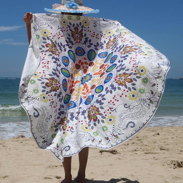 Colorful Round Mandala Throw Towel Beach Mat