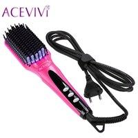 ACEVIVI Digital Electric Hair Straightener Brush Comb Detangling Straightening Irons Hair Brush EU US UK Plug