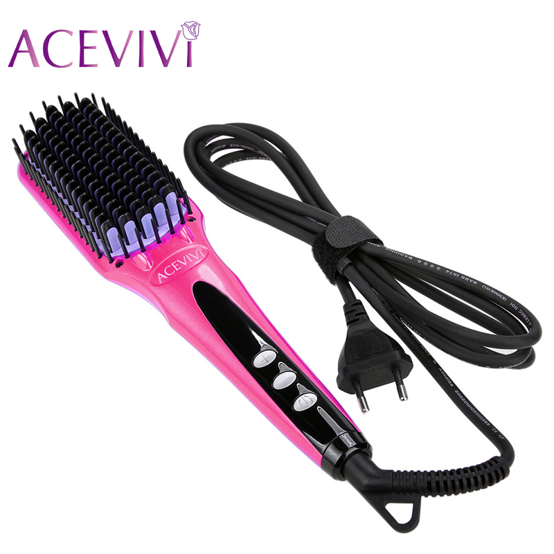 ACEVIVI Digital Electric Hair Straightener Brush Comb Detangling Straightening <font><b>Irons</b></font> Hair Brush EU/ US/ UK Plug