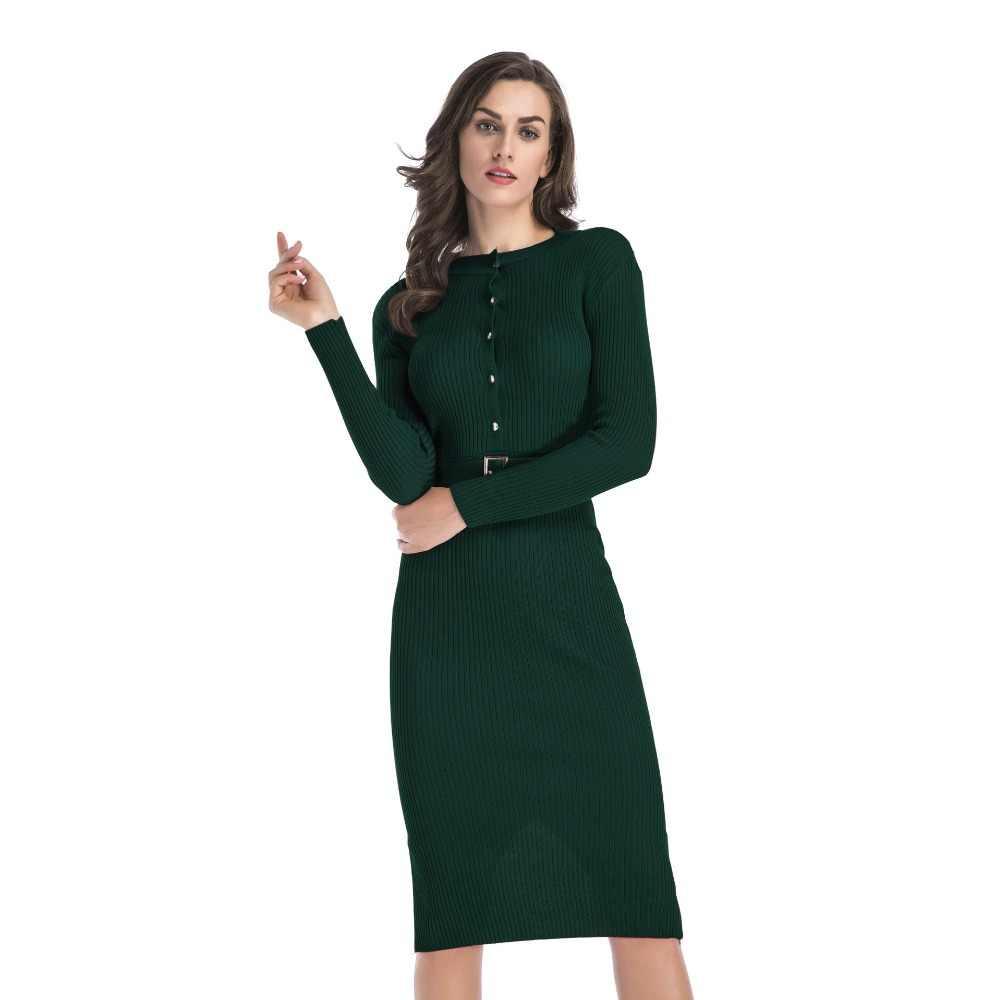 Лидер продаж, весеннее женское платье на пуговицах спереди, повседневное однотонное облегающее платье с поясом, модные длинные платья