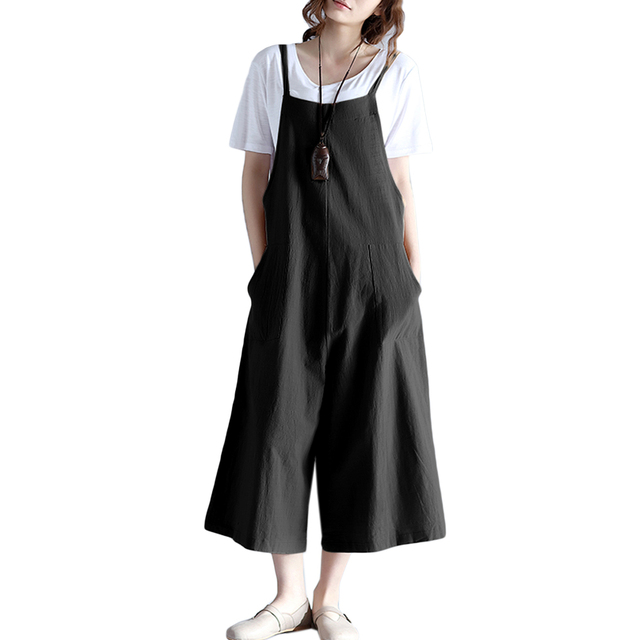 660bb769f76 Women Loose Suspender Trousers Solid Color Casual Overalls Jumpsuit Female  Wide Leg Long Pants Pockets Playsuit