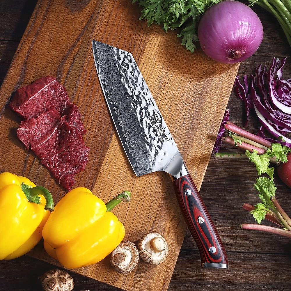 """KEEMAKE 7 """"cal tasak nóż szefa kuchni młotek damaszek AUS 10 60HRC wysokiej jakości stali nierdzewnej G10 uchwyt ostre krajalnica do mięsa nóż w Noże kuchenne od Dom i ogród na  Grupa 3"""