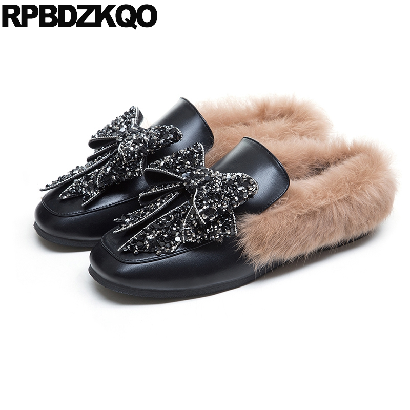 Crystal Stud Rhinestone Fur Fashion Mules Big Bow Rivet Black Celebrity Square Toe Flats Slippers Luxury Brand Shoes Women Metal square shaped stylish crystal zinc alloy stud earrings black bronze pair
