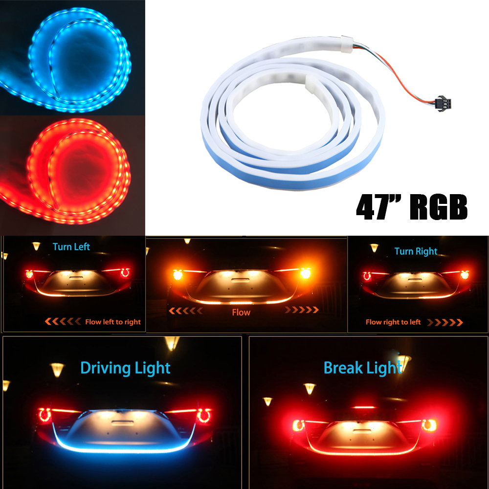 59 4 Color Flowing DRL Led Strip for Tail Trunk Luggage Dynamic Blinkers Turn Signals Rear Lights Car Braking Warning Light
