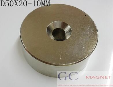 1pcs 50x20 Strong Round Countersunk Ring Magnet 50mm x 20mm Hole 10mm N35 Rare Earth Neodymium Magnet free shipping 50*20-10 new arrival neodymium magnet imanes n35 25x10x3mm strong ring countersunk rare earth new arrival 2015 women jackets coats
