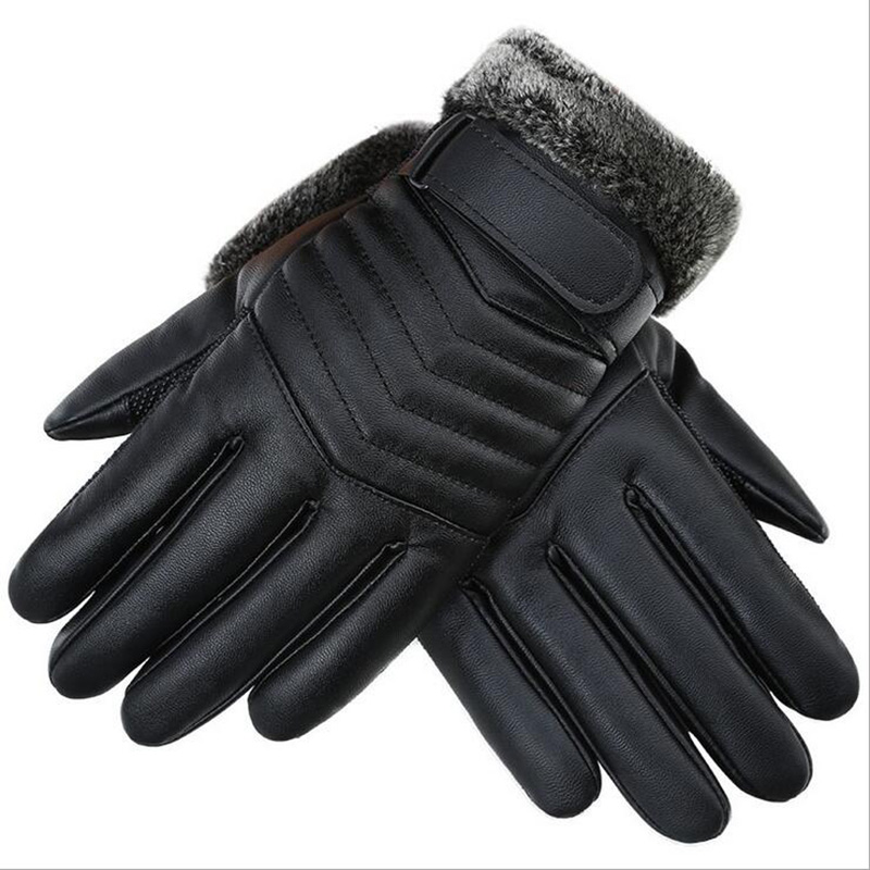 Autumn Winter Men PU Leather Thickened Touch Screen Warm Full Fingers Windproof Driving Waterproof Gloves Mittens