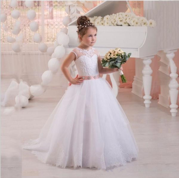 White Flower Girl Dresses Pink Sash Lace Up Girls Birthday Party Communion Gown Children Girl Party Dresses
