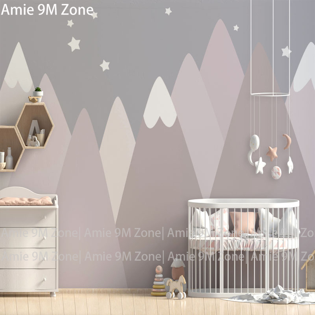 Us 15 39 45 Off Aliexpress Warm Cream Grey Pink Moutains Drawing Stars Ilration Cartoon Design For Kid S Room Wall Decor Free