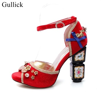 2018 Newest Court Style Sandals Bowtie Flower Matal Fasteners Pearl Ankle Strap Peep Toe Women Sandal Peep Toe Thick Heels