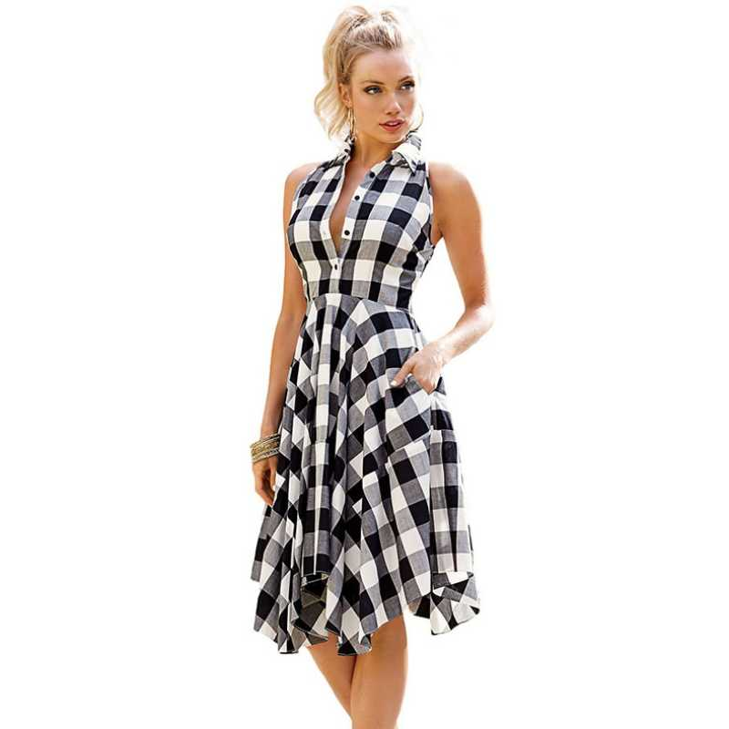 Checks Flared Plaid Shirtdress Explosions Leisure Vintage Dresses 2017 Summer Women Casual Shirt Dress knee-length Dress L28