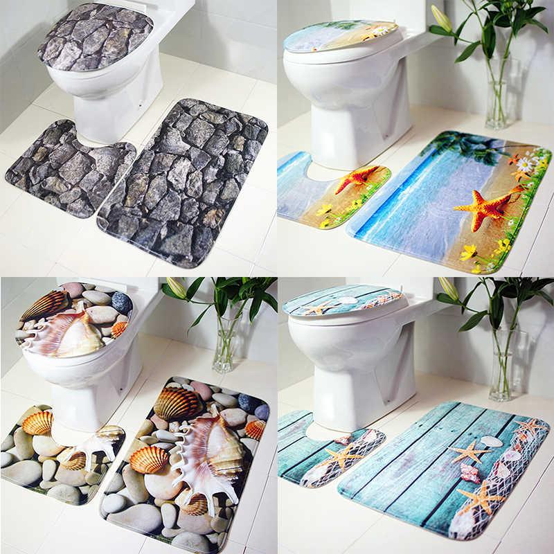 3 unids/set juego de tapete de baño alfombra de franela del mundo océano antideslizante alfombras de baño decoración del hogar productos de baño