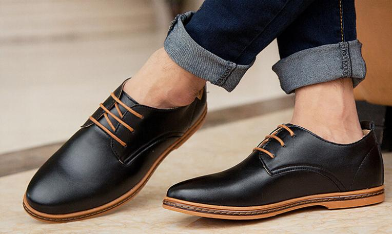New 2017 Men Leather Shoes Casual Artificial Leather Lace Up Shoes
