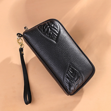 AOEO Women Genuine Leather Wallet Luxury Long Clutch Handbag Money Purse Leaves wristlet Calfskin Ladies Purses Female Wallets