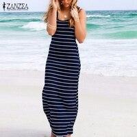 2015 Summer Style Hot Sale Women Striped Boho Long Maxi Sleeveless Beach Vest Dress Sexy Ladies