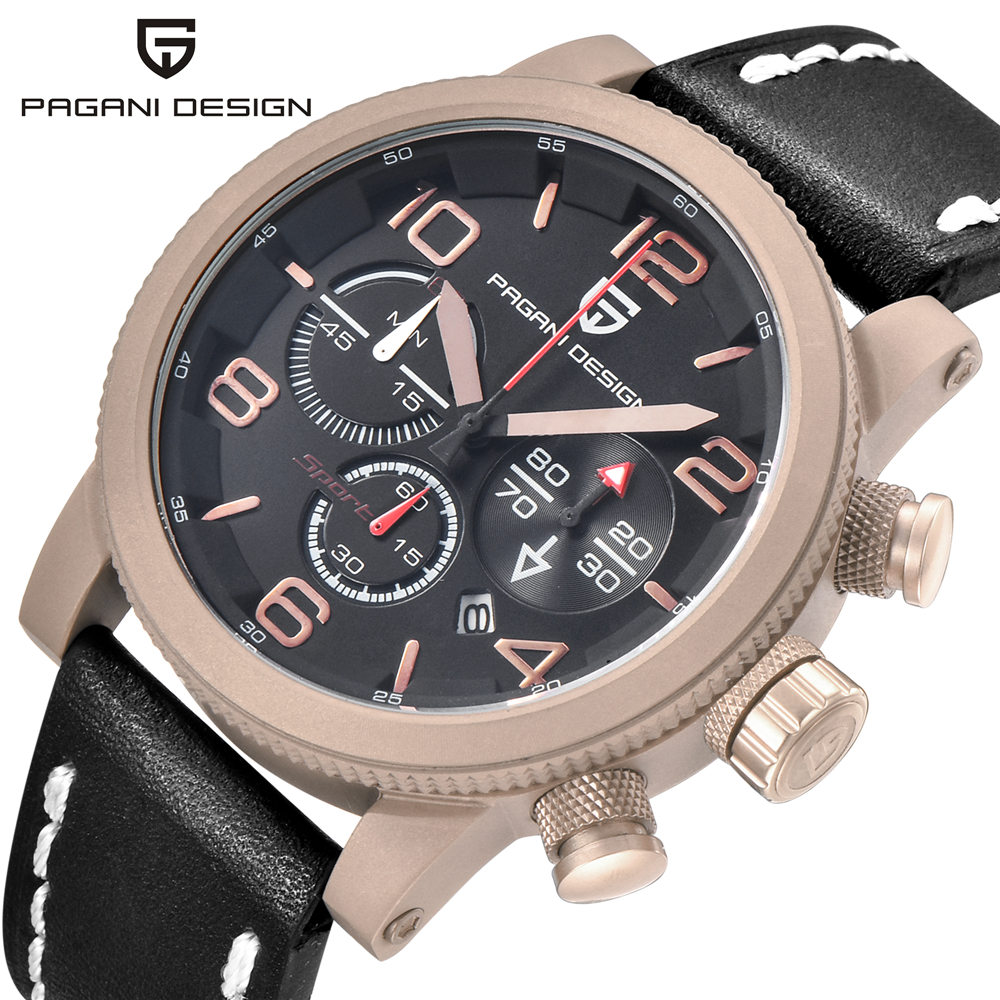 Relogio Masculino Pagani Brand watch Men fashion casual Sport Quartz Watches Men Dive 30M Genuine Leather Wristwatches man clock коврик на торпедо sho me sho 0101