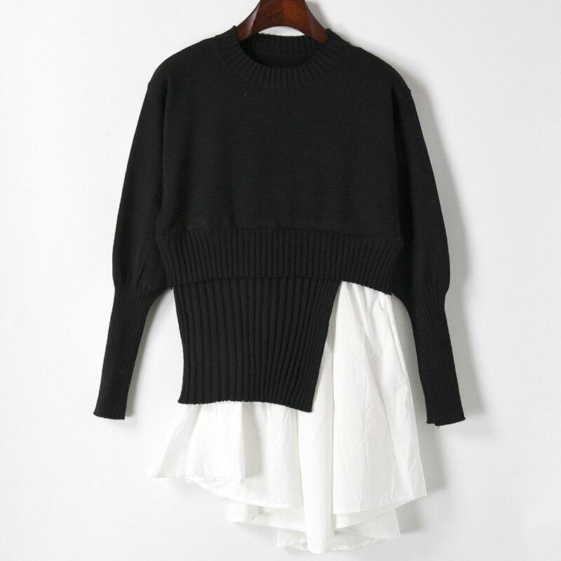 Printemps nouvelles femmes chemises tricotées irrégulières dames mode noir et blanc couture à manches longues chandails blouse hauts
