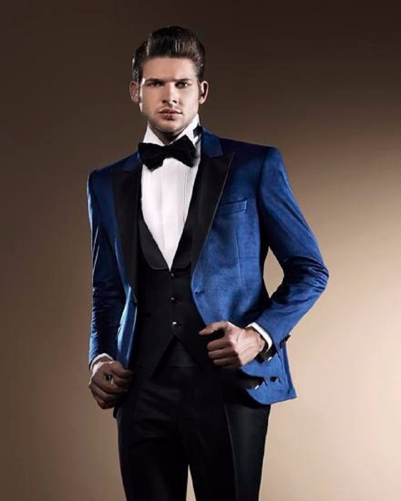 2016 Custom Made Fashion Navy Blue 3 Piece Mens Suits Groom