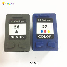 2pk H 56/57 Black & Color Remanufactured Ink Cartridges C6656AN C6657AN