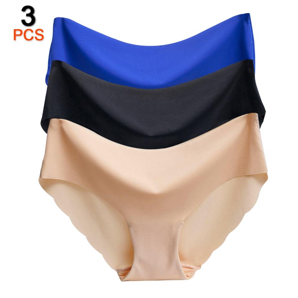 3Pcs/Lot Sexy Seamless Briefs Underwear Women For   Panties   Female Culotte Plus Size Solid Low-Rise Briefs Fashion   Panties   Women