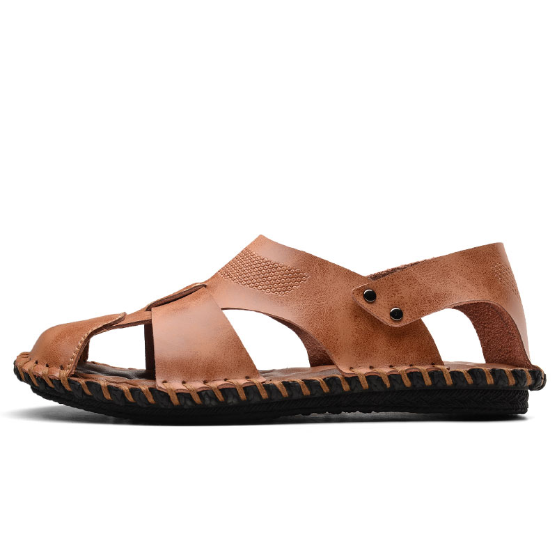 94539a031040 Beach Men Sandals Summer Sandals for Men Closed Toe Leather Sandals Men  Outdoor Sports Male Summer Shoes -in Men s Sandals from Shoes on  Aliexpress.com ...
