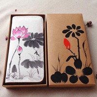 Hot Sale Chinese Wind Hand Painted Wallet National Style Manual Cloth Art Water Lily Pattern Purse
