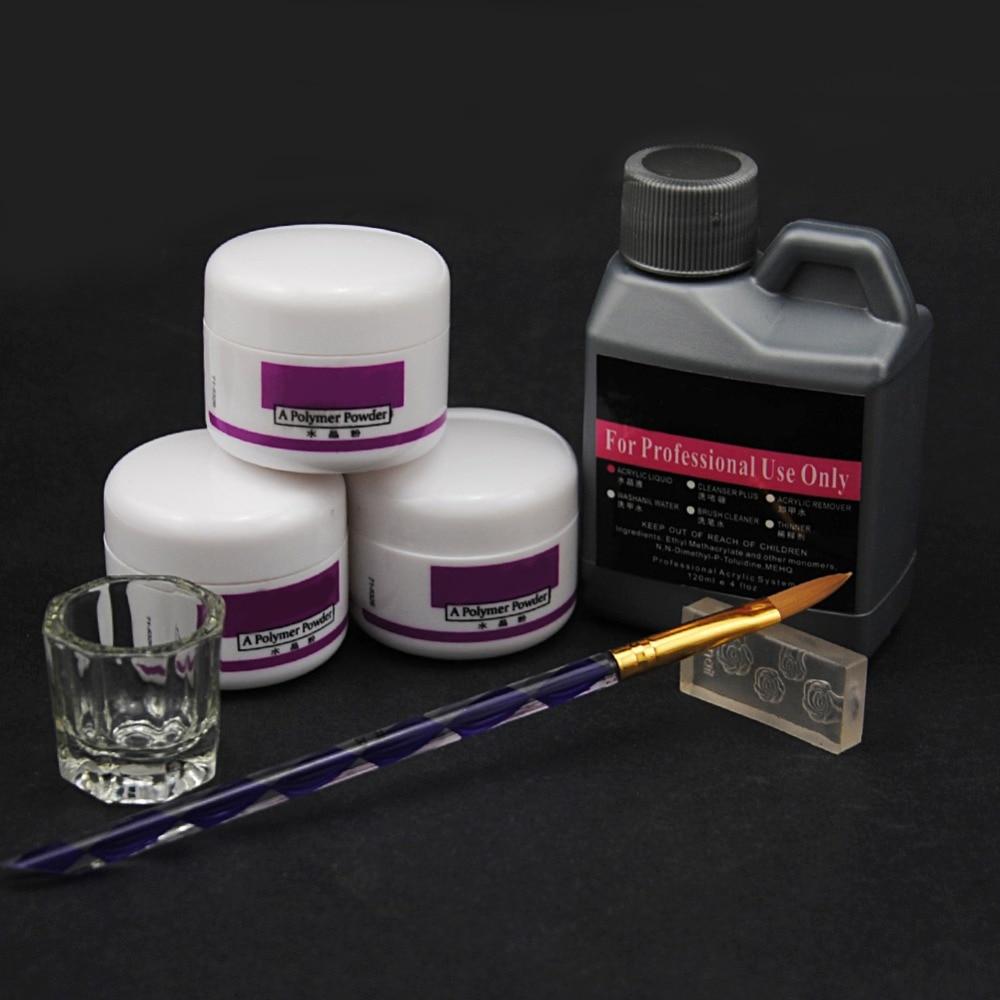 7 Pcs/Set Acrylic Powder Acrylic Nail Kit Crystal Nail