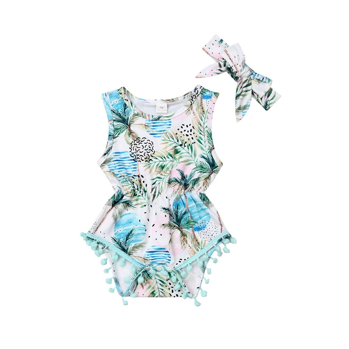 Cute Newborn Baby   Rompers   Flower Pom Pom Tassel Jumpsuit Playsuit Summer Baby Girl Costumes
