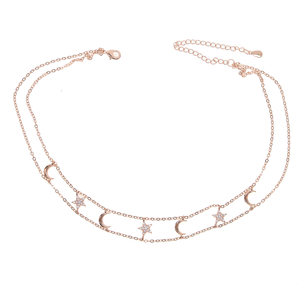 2018-New-cz-moon-star-charm-necklace-gold-rose-silver-color-choker-double-chain-delicate-sparking (2)
