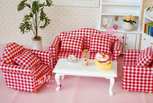 1:12 Dollhouse Miniature RED Double & Single Sofa W/Cushion Set ...