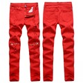 Red/white Ripped Jeans For Men Knee zipper casual Pencil Jeans Mens High Streched Cotton Denim Pants pantalon homme 0303
