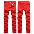 Rojo/blanco Ripped Jeans Para Hombres Rodilla cremallera Lápiz casual Algodón Denim Jeans Para Hombre de Alta Estirada Pantalones pantalon homme 0303